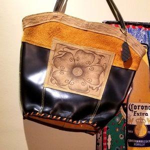 Handbags - COLOR-BLOCK Leather/Suede Varadero Cuba Tote Bag